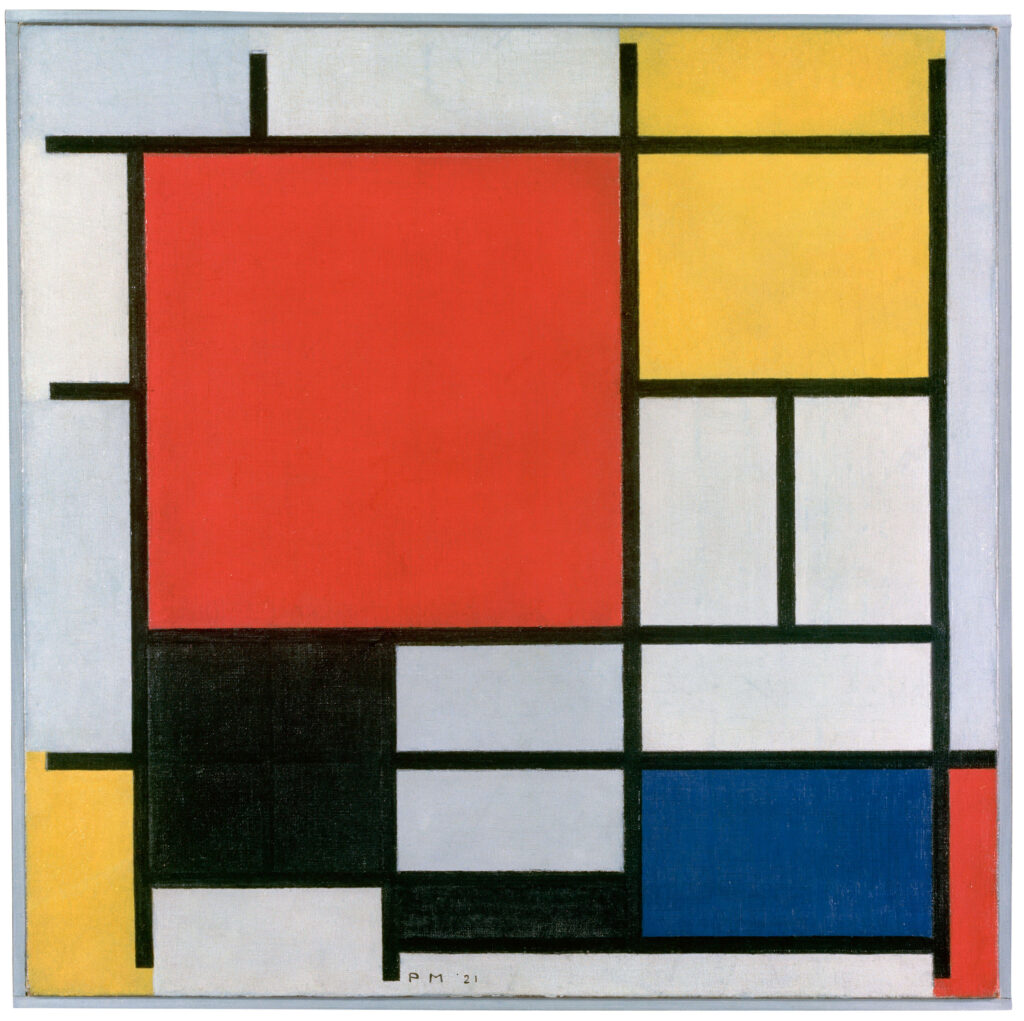 大きな赤の色面、黄、黒、灰、   青色のコンポジション